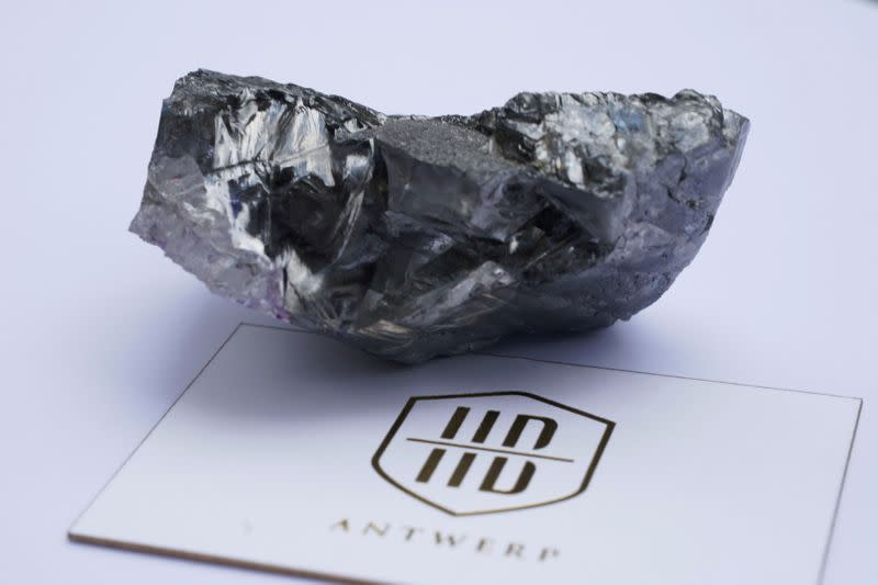 An over 1,000-carat uncut stone by Lucara Diamond during a press availability in New York