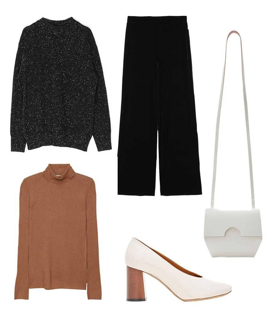 <p>If you're not ready to fully jump in on the unconventional trend, try starting with a simple black oversized sweater and layer it with a turtleneck and wide leg pants à la Céline. You'll still feel like your look is pulled together without mimicking your grandmother<i> too</i> closely. </p>