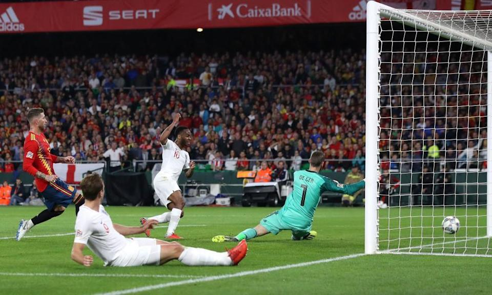 Raheem Sterling scores the third goal against Spain in the October 2018 Nations League match in Seville