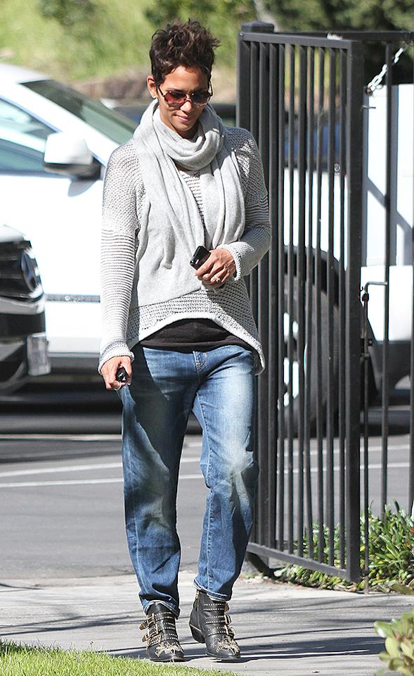 February 25, 2013: Halle Berry picks up her daughter Nahla Aubry (not pictured) at school today in Los Angeles, California.  