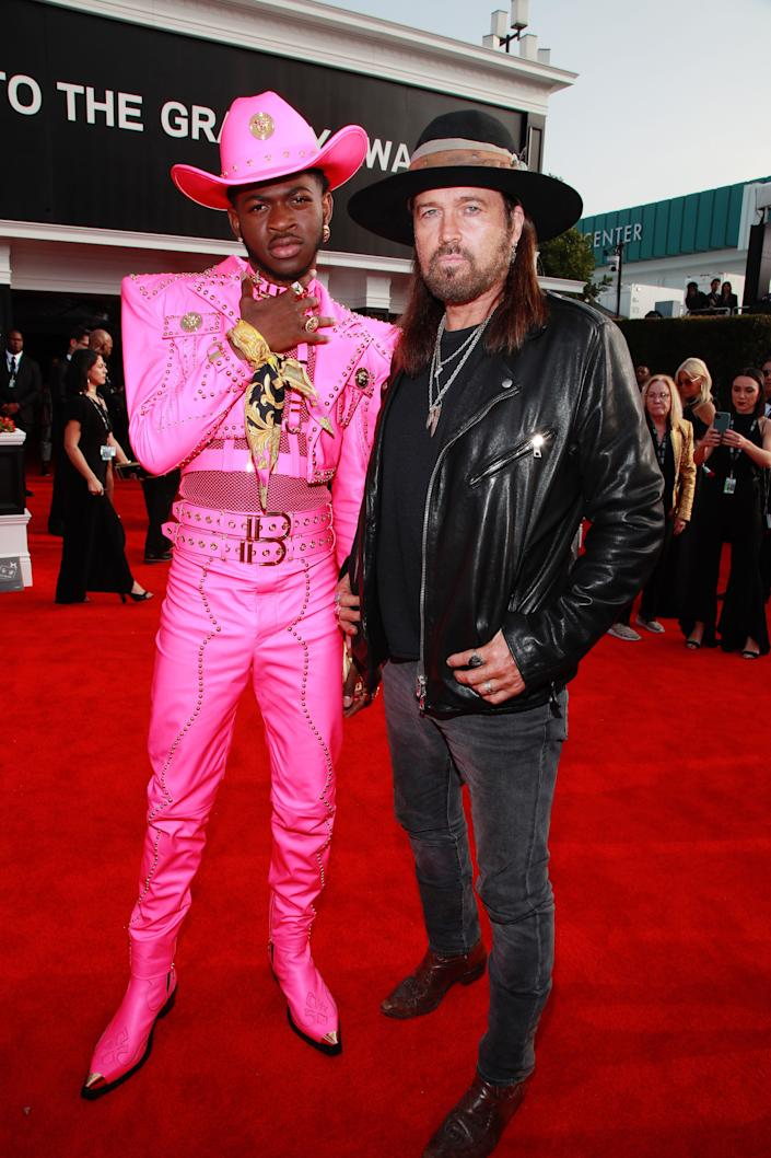 Lil Nas X and Billy Ray Cyrus at the 62nd Annual Grammy Awards red carpet on January 26. (Photo: Rich Fury via Getty Images)