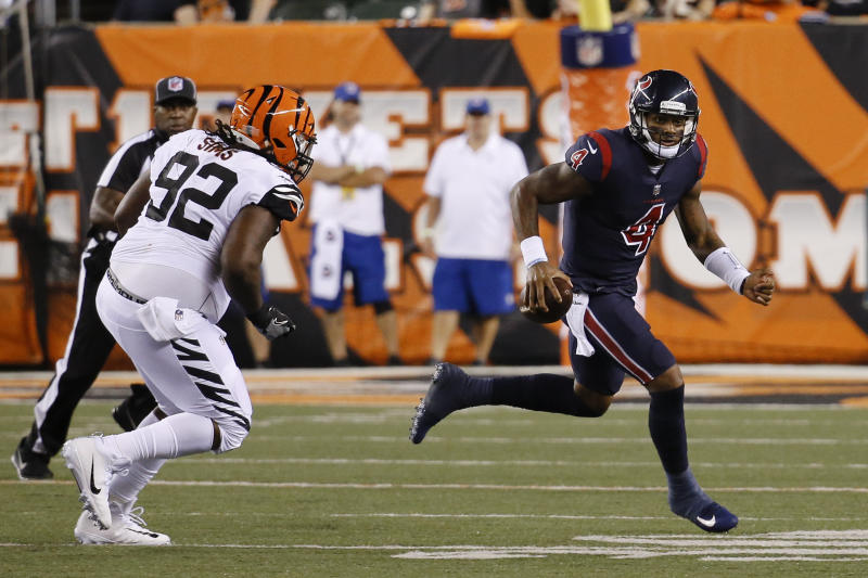 Deshaun Watson had a 49-yard touchdown run in his first career start Thursday night against the Bengals. (AP)