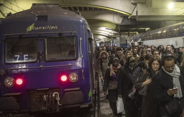 Commuters at Gare Montparnasse train station in Paris