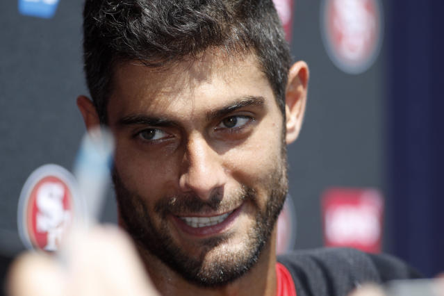 San Francisco 49ers quarterback Jimmy Garoppolo talks with reporters after a combined NFL football training camp with the Denver Broncos at the Broncos' headquarters Friday, Aug. 16, 2019, in Englewood, Colo. (AP Photo/David Zalubowski)
