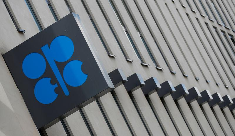 The OPEC logo is seen at OPEC's headquarters in Vienna