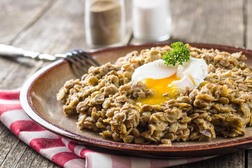 <p>Lentils are high in protein, fiber, vitamins and minerals, and they're also super-versatile. When added to eggs, they make for an easy, affordable and filling meal for any time of day. They are especially delicious served with a poached egg.</p>