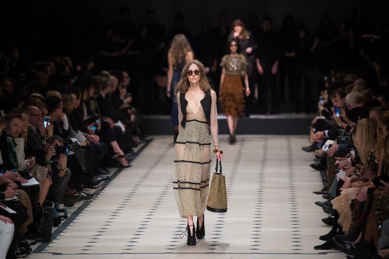 Burberry Prorsum presented over-the-knee sheer flowering skirts during London Fashion Week