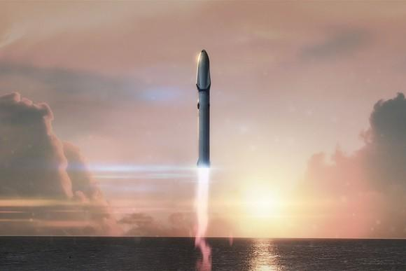 Artist's rendering of Super Heavy and Starship lifting off