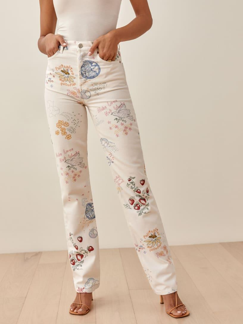 Gigi Hadid wore Cynthia Doodle High Rise Straight Long Jeans. Image via Reformation.
