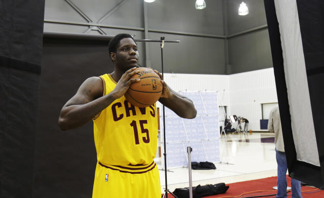 Cleveland Cavaliers' Anthony Bennett poses for a photograph during the NBA teams media day Monday, Sept. 30, 2013, in Independence, Ohio. (AP Photo/Tony Dejak)