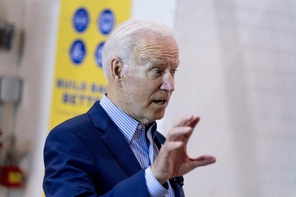 President Joe Biden speaks while meeting with an instructor and apprentice at the IBEW / NECA Electrical Training Center in Cincinnati, Wednesday, July 21, 2021. (AP Photo/Andrew Harnik)
