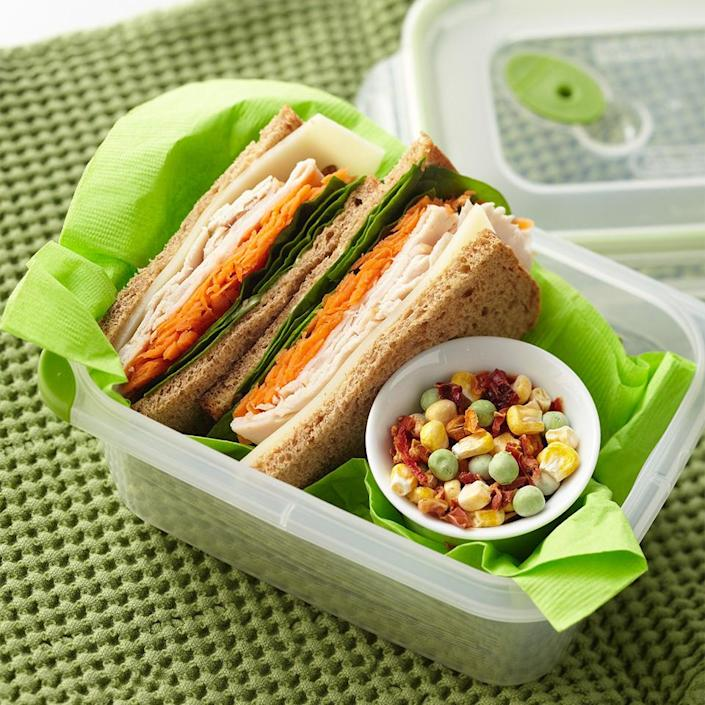 """<p>This better-for-you sandwich is made with whole wheat bread and reduced-fat mayonnaise and cheese, so you can feel great about your lunch choice. <a href=""""https://www.eatingwell.com/recipe/266422/chipotle-turkey-swiss-sandwich/"""" rel=""""nofollow noopener"""" target=""""_blank"""" data-ylk=""""slk:View Recipe"""" class=""""link rapid-noclick-resp"""">View Recipe</a></p>"""