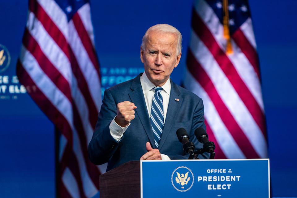 WILMINGTON, DE  November10, 2020:  President- elect Joe Biden answer questions from the press at the Queen in Wilmington, DE on November 10, 2020.  (Photo by Demetrius Freeman/The Washington Post via Getty Images)