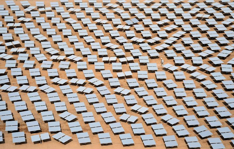 A solar plant co-owned by Google in the Mojave Desert. (Photo: Ethan Miller via Getty Images)