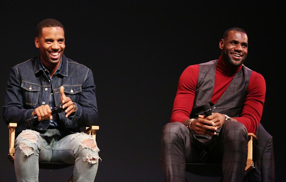 "LeBron James, right, and Maverick Carter participate in a Q and A after the premiere of the STARZ original series ""Survivor's Remorse"" on Tuesday, Sept. 23, 2014 in Los Angeles. ""Survivor's Remorse"" premieres Saturday, Oct. 4 exclusively on STARZ . (Photo by Matt Sayles/Invision for STARZ EntertainmentAP Images)"