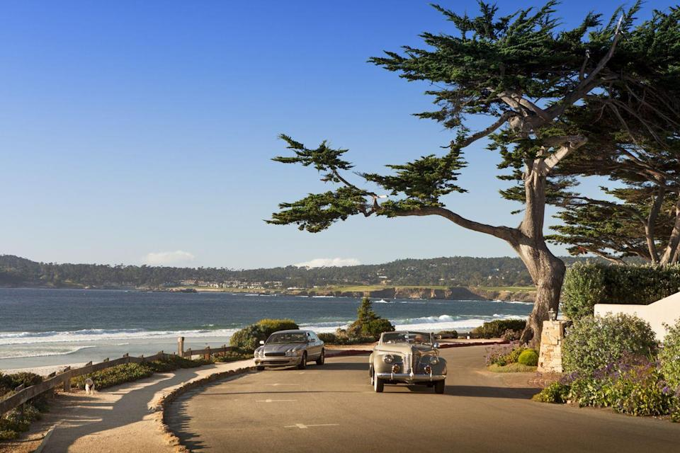 """<p>Carmel-by-the-Sea is located only a few hours away from San Francisco and is a short drive from Monterey (think <em>Big Little Lies</em>) and Big Sur. The village looks like something out of a fairytale, with cottages instead of your typical shops. Set in a valley with mountains all around, you're only minutes away from the Pacific, and super close to the famous <a href=""""https://www.pebblebeach.com/17-mile-drive/"""" rel=""""nofollow noopener"""" target=""""_blank"""" data-ylk=""""slk:17-mile-drive"""" class=""""link rapid-noclick-resp"""">17-mile-drive</a> in Pebble Beach.</p>"""