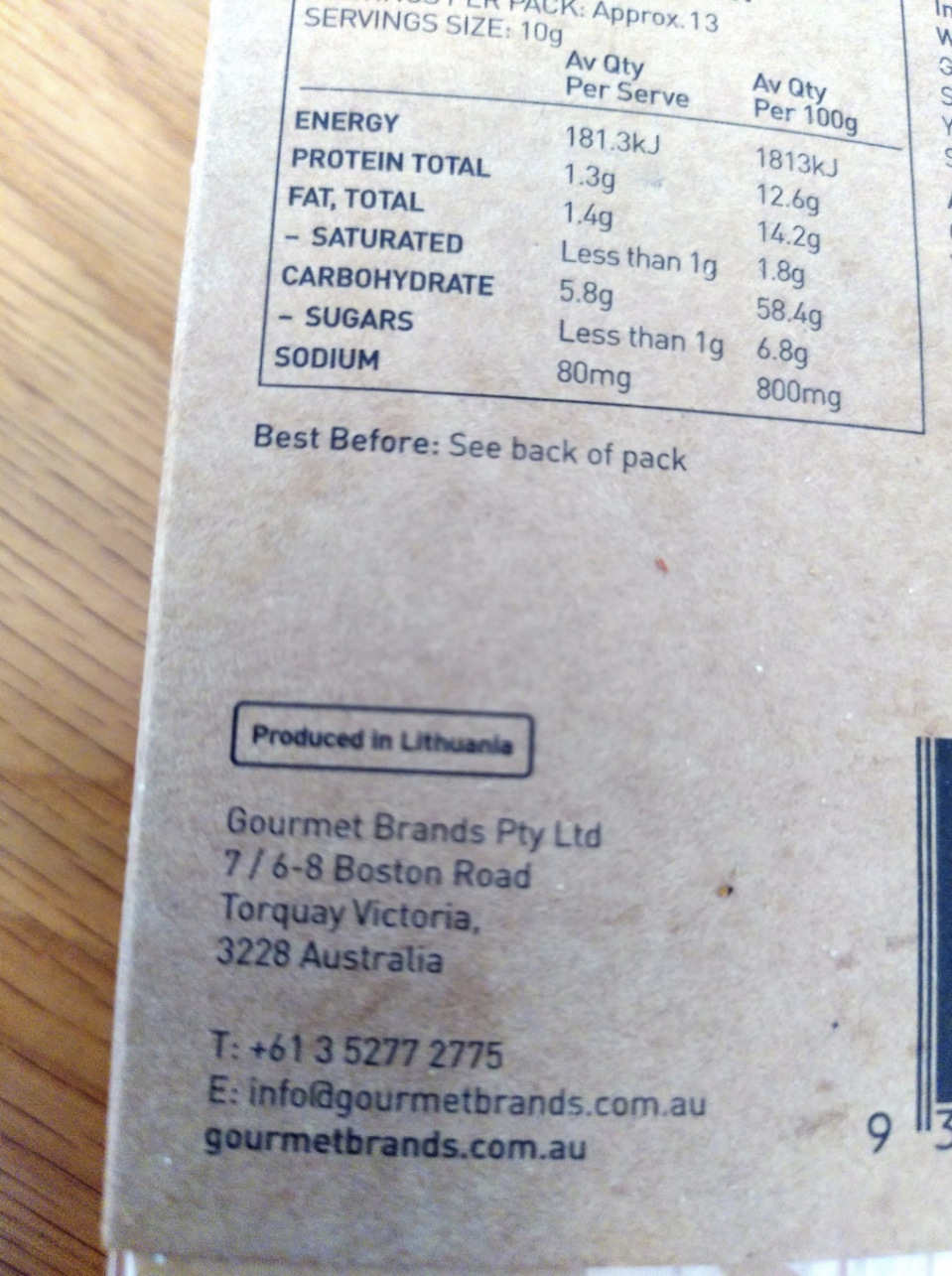 Back of crackers pack stating they're produced in Lithuania.