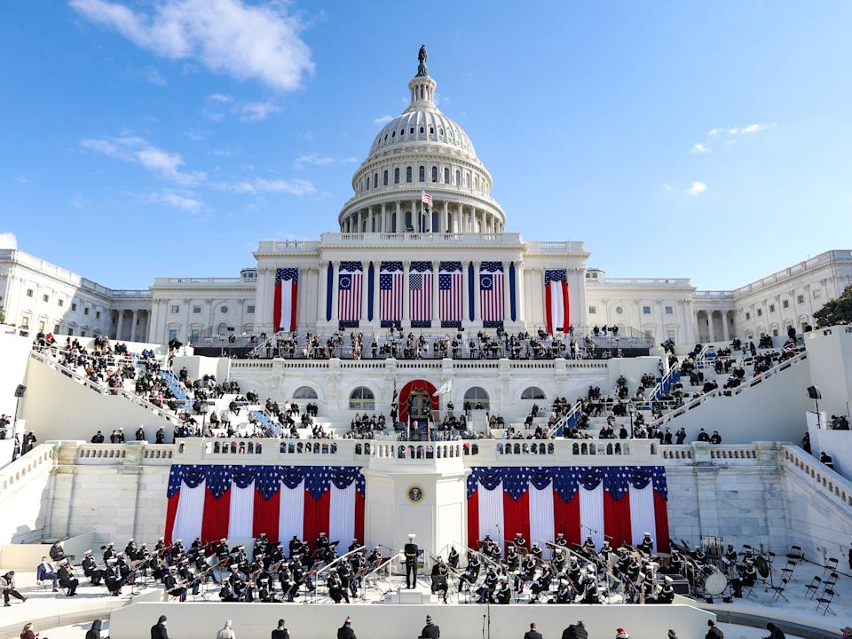 Attendance at Joe Biden's inauguration was slashed to limited numbers in light of the coronavirus pandemic, which has claimed the lives of more than 400,000 Americans Getty Images