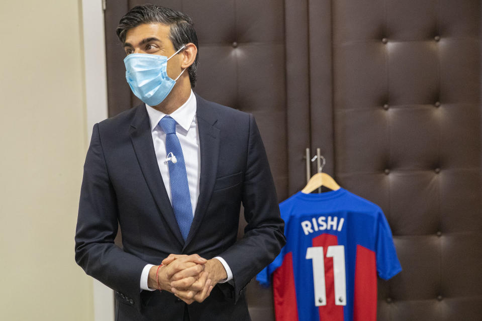 UK's chancellor Rishi Sunak visits a vaccination centre set up at Crystal Palace Football Club in south London. Photo: HM Treasury/Flickr