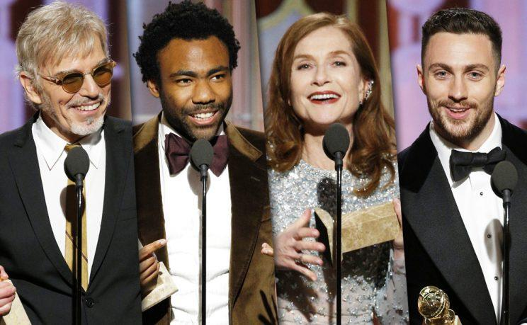 Billy Bob Thornton, Donald Glover, Isabelle Huppert, and Aaron Taylor-Johnson (Photo: Getty Images)