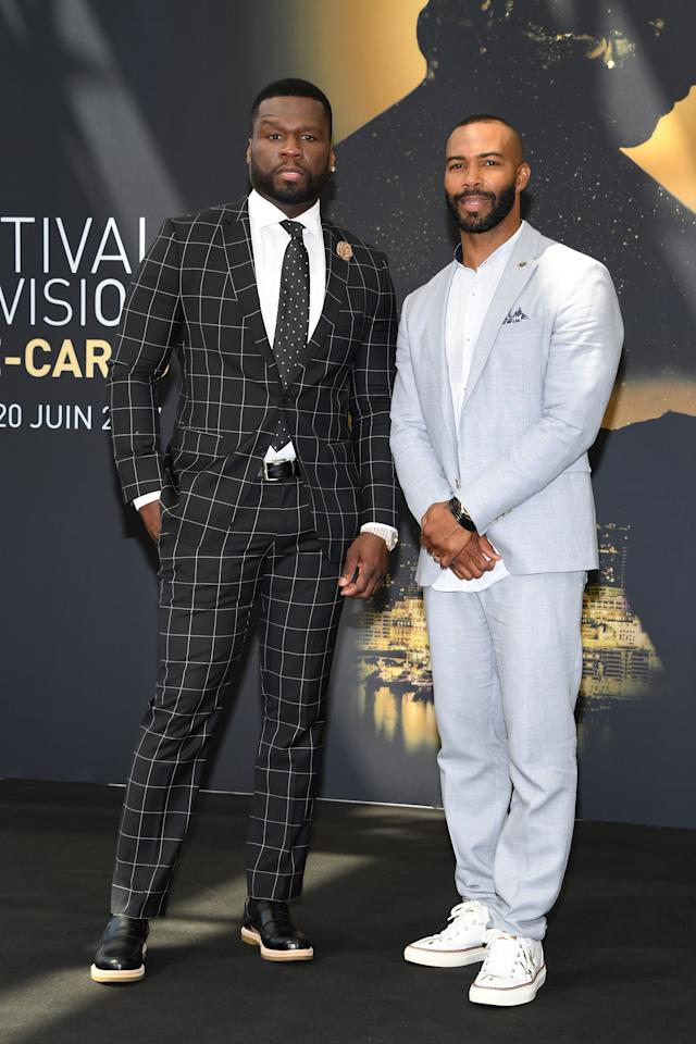<p>50 Cent and Omari Hardwick look snazzy in their suits during the 57th Monte Carlo TV Festival in Monte-Carlo, Monaco.</p>