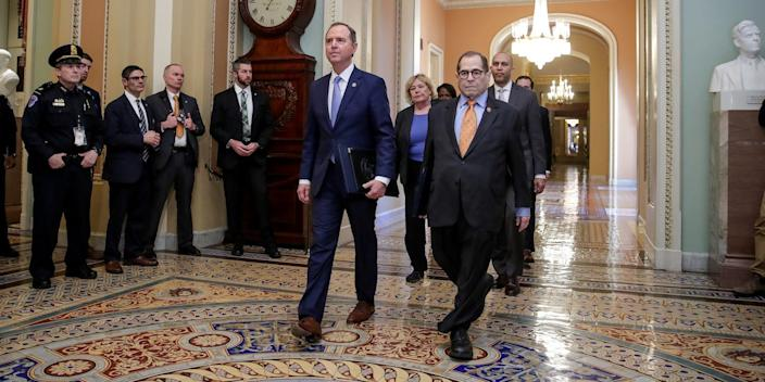 House impeachment managers arrive for the procedural start of the Senate impeachment trial of U.S. President Donald Trump in the US Capitol.
