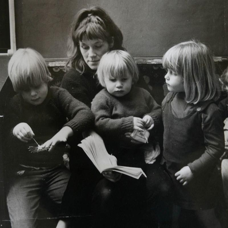 Charlotte Johnson-Wahl, artist pictured with her children Boris (left), Rachel (right) and Leo as children. - Credit: Julian Simmonds