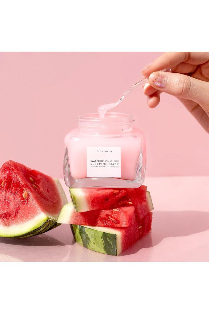 """<p><strong>Glow Recipe</strong></p><p>sephora.com</p><p><strong>$59.00</strong></p><p><a href=""""https://go.redirectingat.com?id=74968X1596630&url=https%3A%2F%2Fwww.sephora.com%2Fproduct%2Fwatermelon-glow-sleeping-mask-P420160&sref=https%3A%2F%2Fwww.cosmopolitan.com%2Fstyle-beauty%2Ffashion%2Fg36476612%2Fgift-ideas-for-tiktok-fans%2F"""" rel=""""nofollow noopener"""" target=""""_blank"""" data-ylk=""""slk:Shop Now"""" class=""""link rapid-noclick-resp"""">Shop Now</a></p><p>TikTok has been obsessed with Watermelon Glow products for a while now—so obviously it makes for a perfect lil gift.</p>"""