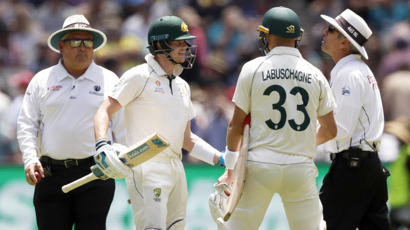 Steve Smith of Australia speaks to the umpire during day one of the Second Test match in the series between Australia and New Zealand. (Photo by Darrian Traynor/Getty Images)