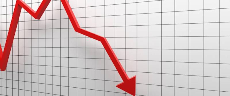 arrow going down, plummeting stocks or sales concept