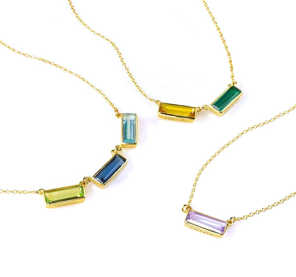 <p>How chic is this <span>Modern Geometric Gemstone Bar Necklace</span> ($42)!? Personalize significant names or birthdays of the people she cares about.</p>