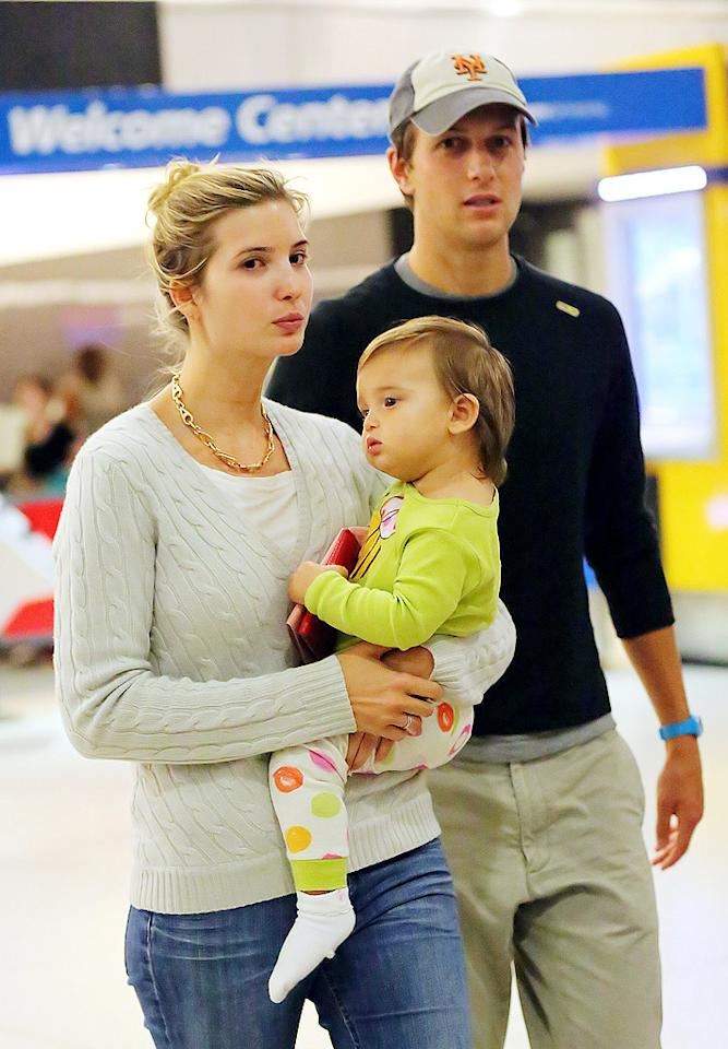 "<p class=""MsoNormal"">It must have been a long flight for parents Ivanka Trump and Jared Kushner! The couple touched down at JFK International Airport with their daughter, Arabella Rose, after a trip to Paris looking a little red-eyed. The adorable Arabella will celebrate her first birthday on July 17. (7/16/2012)</p>"