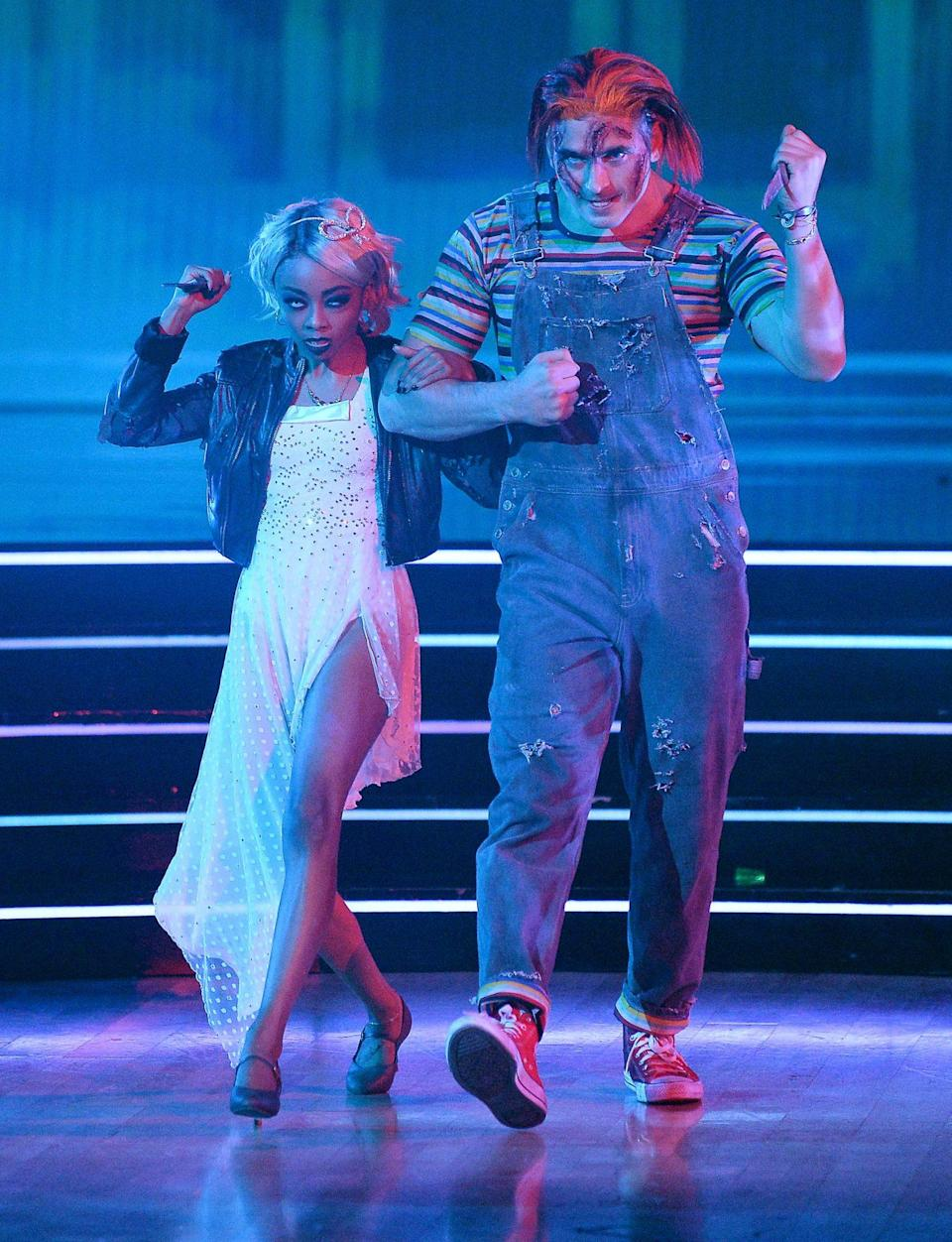 <p>The pair look ultra-spooky dressed Tiffany Valentine and Chucky from <em>Bride of Chucky. </em></p>