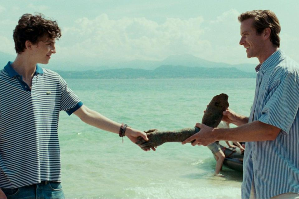 <p>Timothee and Armie having a peachy time</p>Handout