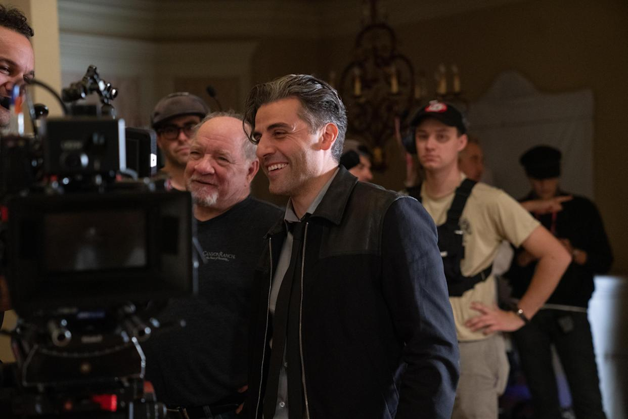 Paul Schrader and Isaac on the set of The Card Counter (Photo: Heidi Hartwig / Focus Features)