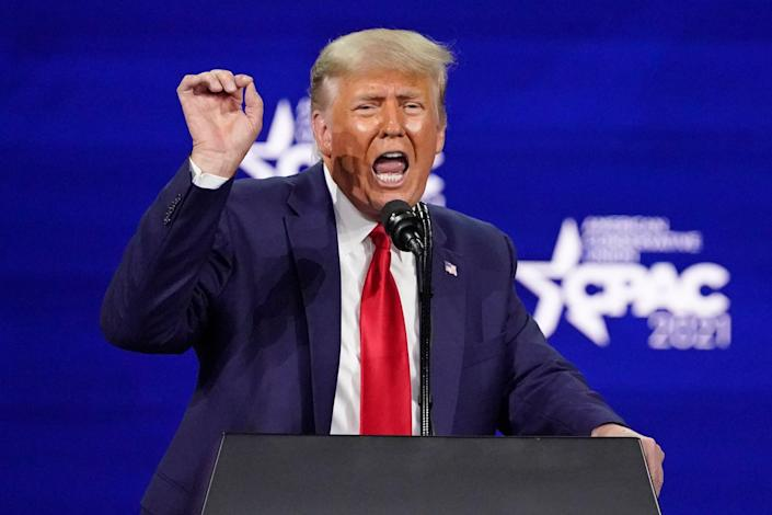 <p>Former President Donald Trump speaks at the Conservative Political Action Conference (CPAC), Sunday, Feb 28, 2021, in Orlando, Florida</p> ( (AP Photo/John Raoux))