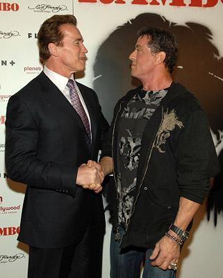 "Premiere: Governor <a href=""/movie/contributor/1800021514"">Arnold Schwarzenegger</a> and <a href=""/movie/contributor/1800020291"">Sylvester Stallone</a> at the Las Vegas premiere of Lionsgate Films' <a href=""/movie/1809833626/info"">Rambo</a> - 01/24/2008<br>Photo: <a href=""http://www.wireimage.com/"">Denise Truscello, WireImage.com</a>"