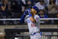 Chicago Cubs' Rafael Ortega celebrates his two-run home run during the ninth inning of the team's baseball game against the New York Mets on Wednesday, June 16, 2021, in New York. (AP Photo/Frank Franklin II)