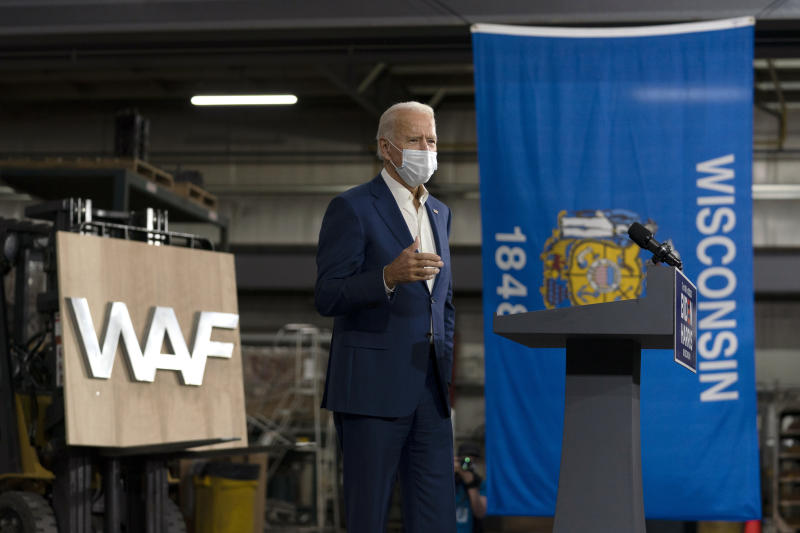 Democratic presidential candidate former Vice President Joe Biden speaks at Wisconsin Aluminum Foundry in Manitowoc, Wis., Monday, Sept. 21, 2020. (AP Photo/Carolyn Kaster)
