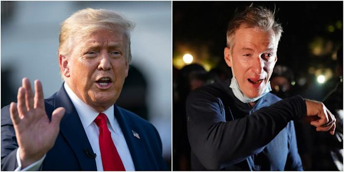 A composite image of President Donald Trump outside the White House on Thursday, and Mayor Ted Wheeler of Portland after being tear gassed at a protest Wednesday night.