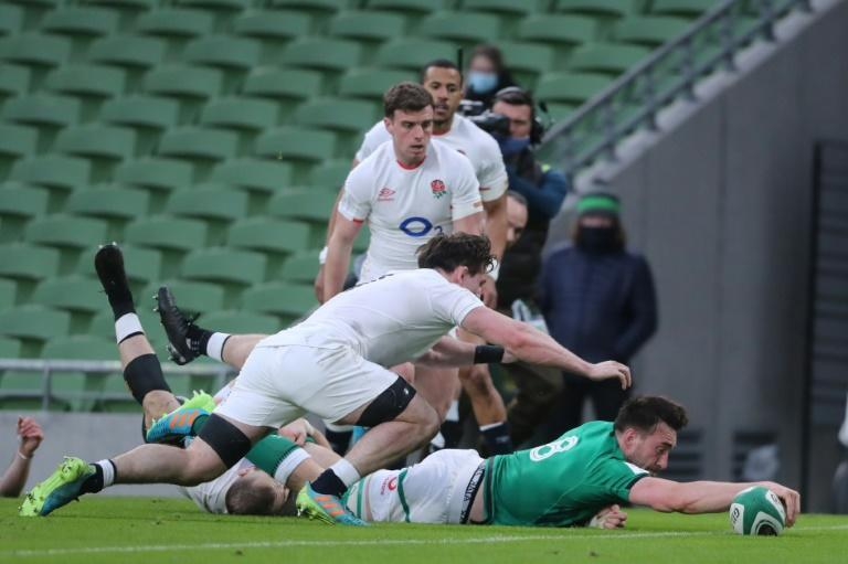 Ireland's Jack Conan scores a try in the Six Nations match against England in Dublin