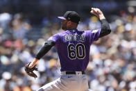 Colorado Rockies relief pitcher Ashton Goudeau delivers to a San Diego Padres batter in the second inning of a baseball game Sunday, Aug. 1, 2021, in San Diego. (AP Photo/Derrick Tuskan)