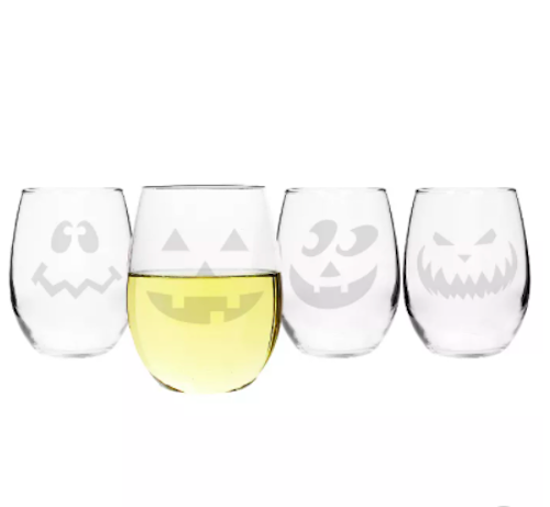 Cathy's Concepts Halloween Pumpkin Stemless Wine Glasses (Set of 4)
