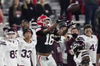 Georgia wide receiver Demetris Robertson (16) makes a catch during the second half of the team's NCAA college football game against Mississippi State, Saturday, Nov. 21, 2020, in Athens, Ga. (AP Photo/Brynn Anderson)