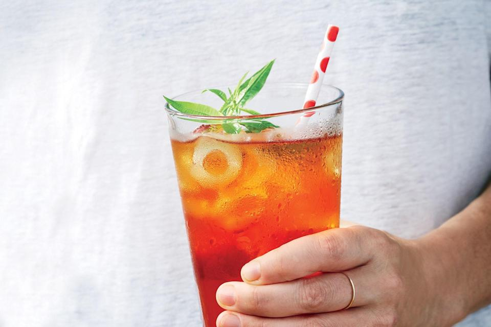 "Slightly bruised or wrinkled stone fruit is ideal for making the infused syrup; peaches and nectarines work too. <a href=""https://www.epicurious.com/recipes/food/views/cold-brew-plum-iced-tea?mbid=synd_yahoo_rss"" rel=""nofollow noopener"" target=""_blank"" data-ylk=""slk:See recipe."" class=""link rapid-noclick-resp"">See recipe.</a>"