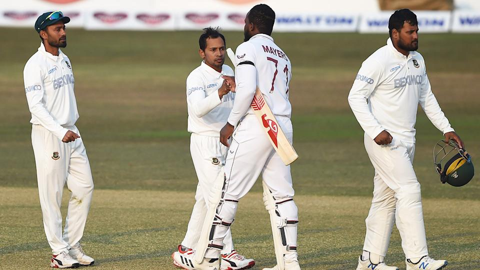 Kyle Mayers, pictured here shaking hands with Mushfiqur Rahim after West Indies' win over Bangladesh.