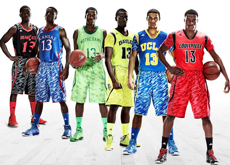 This photo illustration released by Adidas shows the uniforms for NCAA basketball teams, from left, University of Cincinnati, University of Kansas, University of Notre Dame, Baylor University, UCLA and the University of Louisville. (AP Photo/Adidas)