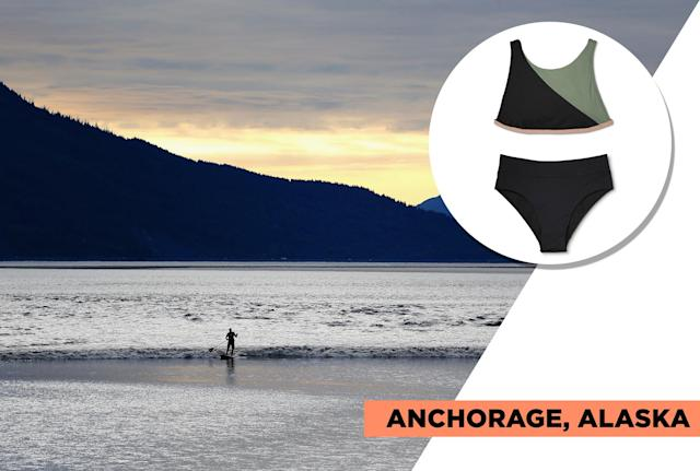 "<p>Summer weather in Anchorage averages 65 degrees. Although it is not the ideal place for tanning, it's a beautiful place to sightsee, kayak, hike, raft, go horesback riding, and more. For this type of vacation, consider a sporty bikini like Sunn Lab's color-block suit offering more coverage on top. Style it with a tee and shorts, and add a thin jacket for when it gets a little chilly. (Photo: Getty Images, Art: Quinn Lemmers for Yahoo Lifestyle)<br><br>Sunn Lab — Swim Women's Color Block High Neck Bikini Top, $30, <a href=""https://www.target.com/p/sunn-lab-swim-women-s-color-block-high-neck-bikini-top-black-moss/-/A-52916940?preselect=52855364"" rel=""nofollow noopener"" target=""_blank"" data-ylk=""slk:target.com"" class=""link rapid-noclick-resp"">target.com</a><br> Sunn Lab — Women's High Waist Swim Bikini Bottom, $25, <a href=""https://www.target.com/p/women-s-high-waist-swim-bikini-bottom-noir-sunn-lab-swim/-/A-52031689"" rel=""nofollow noopener"" target=""_blank"" data-ylk=""slk:target.com"" class=""link rapid-noclick-resp"">target.com</a> </p>"