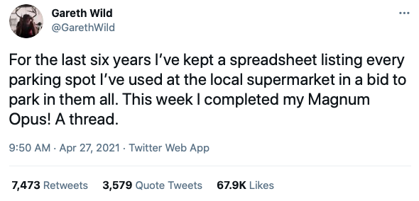 Gareth Wild's Twitter thread has been liked over 67,000 times. (Twitter/@GarethWild)
