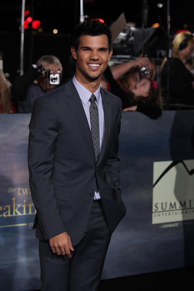 "Taylor Lautner arrives at ""The Twilight Saga: Breaking Dawn - Part 2"" Los Angeles premiere at the Nokia Theatre L.A. Live on November 12, 2012 in Los Angeles, California."